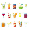 Different drinks in bottles and glasses. Vector set isolate on white