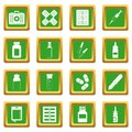 Different drugs icons set green