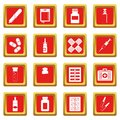 Different drugs icons set red