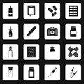 Different drugs icons set squares vector