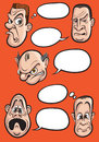 Different emotion faces with speech balloons vector collection Royalty Free Stock Photo