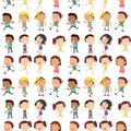 Different emotion of kids illustration the on a white background Stock Photos