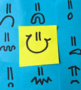 stock image of  Different Emotions Drawn on Post-its