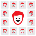 Different emotions feelings of young man s face vector graphic this illustration represents being sad happy in Royalty Free Stock Photo
