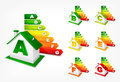 Different energy efficiency rating and house color vector illustration Stock Photography