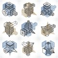 Different engineering constructions collection, abstract vectors