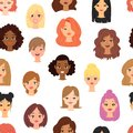Different ethnic nationality affiliation woman head face vector icons seamless pattern