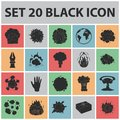 Different explosions black icons in set collection for design.Flash and flame vector symbol stock web illustration.
