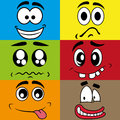 Different expressions cute abstract expresions face on squares with color Stock Image