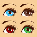 Different eye colors close up illustration of four eyes with Stock Images