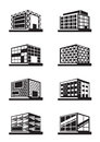 Different facades of buildings vector illustration Royalty Free Stock Photo