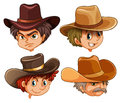 Different faces of four cowboys illustration the on a white background Stock Photo