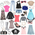 Different female clothes, shoes and accessories. Royalty Free Stock Photo