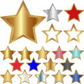 Different five pointed stars set of illustration Stock Photography