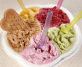 Different flavours and colors of ice creams Royalty Free Stock Photos