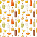 Different food oil in bottles liquid natural virgin organic healthy container vector illustration seamless pattern