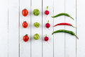 Different fresh seasonal vegetables in rows