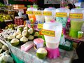 Different fruit juice and refreshments in market market in bonifacio global city photo of taguig philippines asia Stock Images