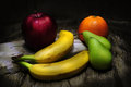 Different fruit light painting still life of various fruits with Stock Photo