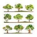 Different fruit trees set, apple, orange, lemon, pear, rowan, apricot, plum, cherry tree with ripe fruits vector