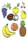 Different fruits set . vector illustration Royalty Free Stock Photo