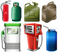 Different fuel containers illustration of the on a white background Stock Images