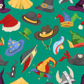 Different funny holiday carnival hats for party masquerade celebration traditional vector illustration background