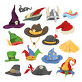 Different funny holiday carnival hats for party and masquerade celebration traditional vector illustration