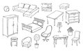 Different furniture set Royalty Free Stock Photography