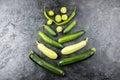 Different green fresh seasonal vegetables