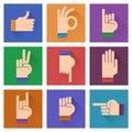 Different hands, gestures, signals flat design illustration;