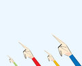 Different hands pointing fingers at one direction. Concept of one opinion, same direction, conformism, uniformity.