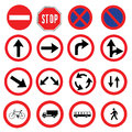 Different highly detailed and fully   Traffic-Road Sign Collection. ready to use Royalty Free Stock Photo