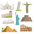 Different historical famous landmarks. World places. Vector illustrations Royalty Free Stock Photo