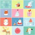 Different holiday for the new year set of objects and images of on colored backgrounds Stock Image