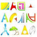 Different Icon with alphabet A Royalty Free Stock Image