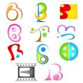 Different Icon with alphabet b Royalty Free Stock Images