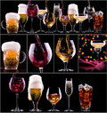 Different images of alcohol collage beer cola champagne wine whiskey Stock Photo