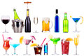 Different images of alcohol isolated beer martini cola champagne wine juice Stock Photos