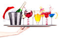 Different images of alcohol on a waitress tray isolated Royalty Free Stock Photo