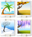 Different images of the four seaons illustration on a white background Stock Photography