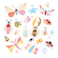 Different insects set of funny colored on a white background Stock Photos