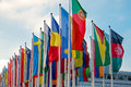 Different international flags many seen at a fair center Royalty Free Stock Photography