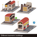 Different isometric buildings vector illustration of four Royalty Free Stock Photos