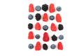Different juicy berries laid out in a square on a white backgrou Royalty Free Stock Photo