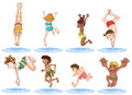 Different kids enjoying the water illustration of on a white background Royalty Free Stock Photo