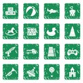 Different kids toys icons set grunge