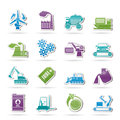 Different kind of business and industry icons Stock Photo