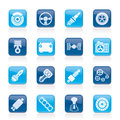Different kind of car parts icons Stock Image