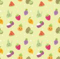 stock image of  Different kind of fruit seamless background in kawaii style vector